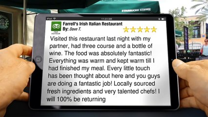 Farrell's Irish Italian Restaurant Keynsham Superb 5 Star Review by Dave T