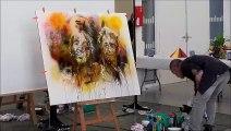 Réalisation d'une toile par Corado Boust, artiste peintre montcellien