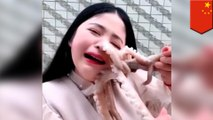 生きたタコを食べようとした美人ブロガー 吸盤に吸い付かれる - トモニュース