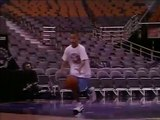 Young Stephen Curry as a kid shooting around in Raptors Arena preparing for the 2019 NBA finals