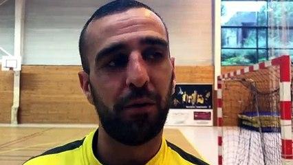 Finale Coupe LAuRA Futsal – Nicolas KARILAOS réagit après la victoire de FS MONT D'OR contre COURNON Futsal