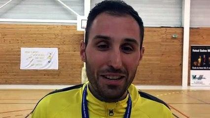 Finale Coupe LAuRA Futsal – Yannick GAETAN réagit après la victoire de FS MONT D'OR contre COURNON Futsal