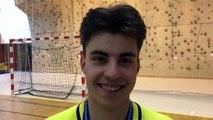 Finale Coupe LAuRA Futsal – Loic VALLA réagit après la victoire de FS MONT D'OR contre COURNON Futsal