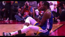 Toronto Raptors fans cheer for Kevin Durant as he is helped off court with Achilles calf injury again Game 5 NBA finals 6-10-19