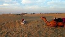 Jaisalmer: Camel ride and sunset in the Thar desert / tour en chameau et coucher de soleil / Kamelritt und Sonnenuntergang. UIN078718