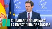 Rivera insiste a Sánchez que no le apoyará en su investidura