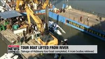 Hableany tour boat salvaged from Danube River after two weeks, investigations to follow