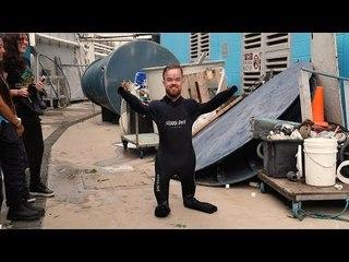 Brad Williams in a shark tank