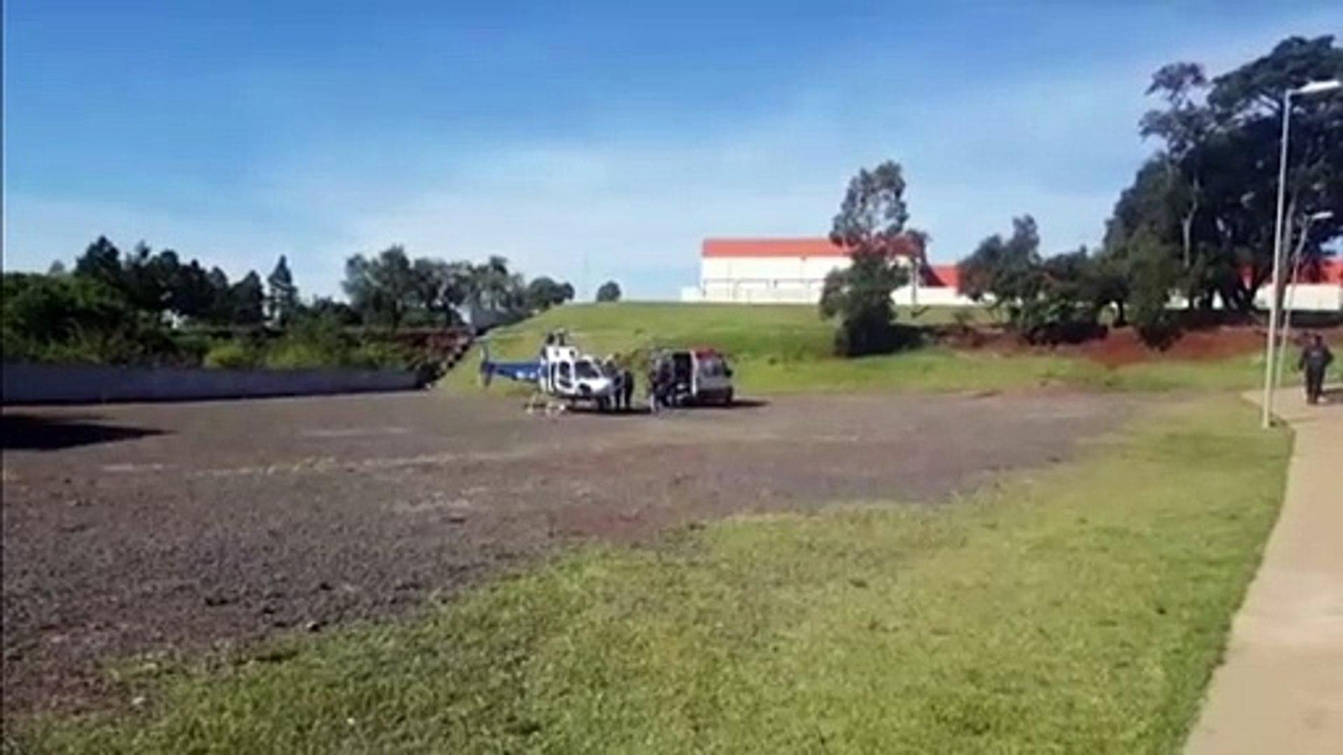 Idoso que estava internado em Cafelândia é trazido de helicóptero a Cascavel