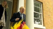 Reporters shout questions on drug use as Boris leaves home