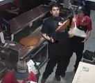 Un employé rattrape une pizza comme un boss !