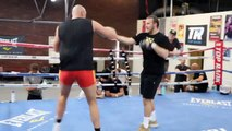 TYSON FURY DISPLAYS INCREDIBLE SPEED, MOVEMENT & POWER - RATTLES PADS w/ BEN DAVISON IN LAS VEGAS