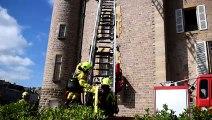 Manoeuvre incendie au château de La Clayette