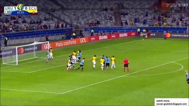 Uruguay 2-0 Ecuador - Cavani overhead kick goal