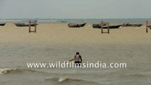 Boats And Ferries in the Bay of Bengal, Gangasagar, West Bengal, India   4k stock footage