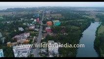 Birds eye view of Bakkhali beach in the evening    4k Aerial stock footage
