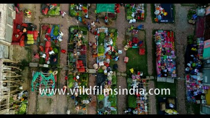 Dashmile Bridge, colourful West Bengal, lifestyle and red boats, India , Aerial 4k stock footage
