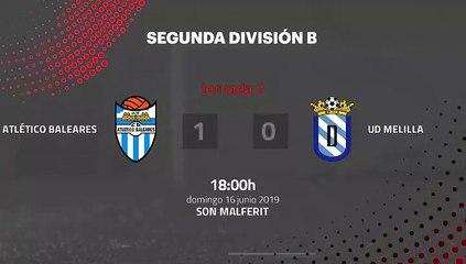 Resumen partido entre Atlético Baleares y UD Melilla Jornada 2 Segunda B - Play Offs Ascenso
