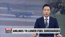 Korean airlines to lower fuel surcharges on int'l routes from July