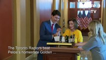 Trudeau gifts Pelosi with Raptors swag after NBA finals bet