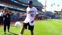 Mbappe showcases ball-juggling skills with giant baseball at LA Dodgers