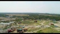 Sunama Park, Susni Island Mangroves, Bakkhali Sunset Point , West Beach Side , Kargil Beach , Frasergunj Harbour, West Bengal,  Bay of Bengal , India  -Aerial stock footage 4K-