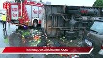 İstanbul'da 8 araç birbirine girdi