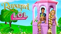 Barbie Doll LOL Rapunzel Family Tower Playdate with Disney Aladdin LOL Family