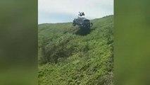Takla atan arazi aracından fırlayan sürücü kameralara yansıdı