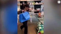 The improvised dance of Thalia in a store