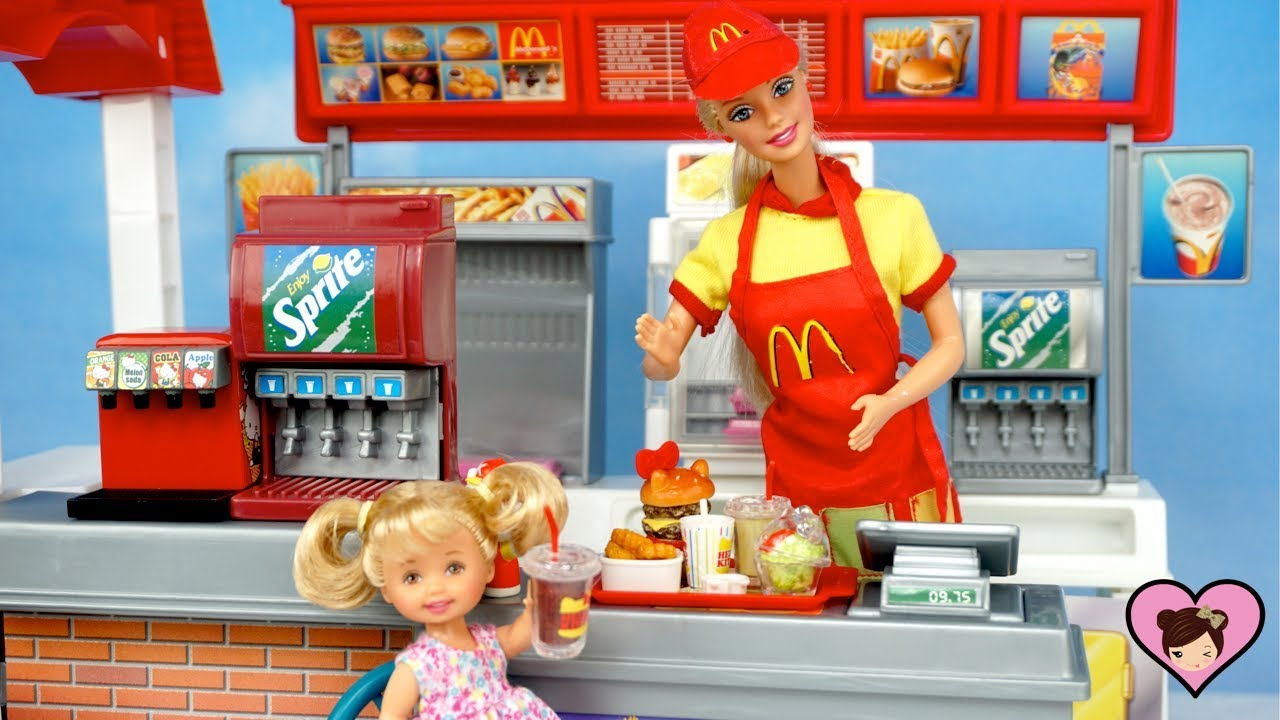 Barbie Doll Mc Donalds Fast Food with Hello Kitty Rement Miniature Dollhouse Food