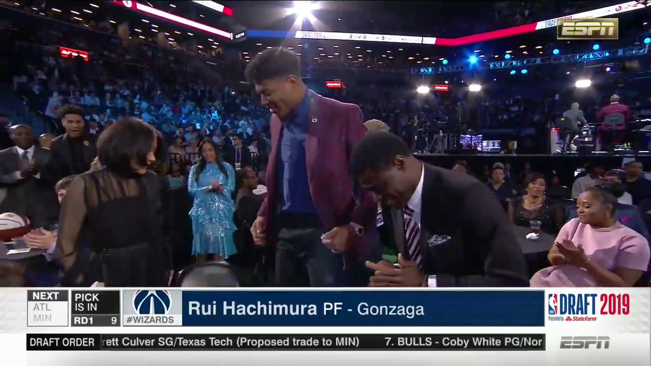 Rui Hachimura –  9th Pick -2019 NBA Draft – Washington Wizards
