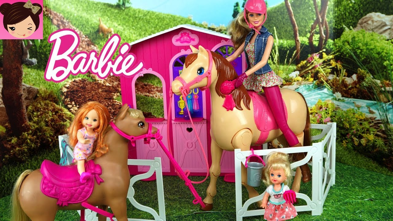 Barbie Morning Routine in Horse Stable with Toddler Elsa and Anna Kids