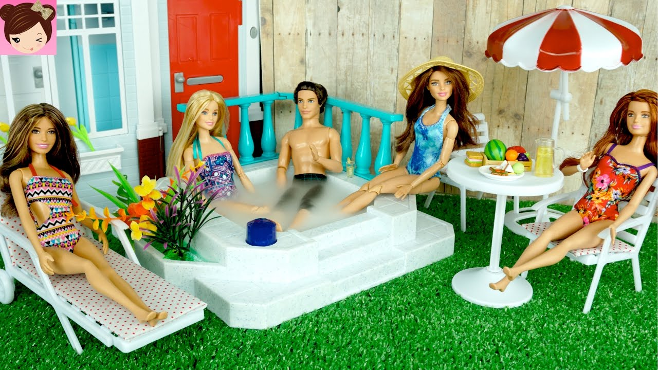 Barbie Doll Jacuzzi Hot Tub Playset – Barbie Has a Party in her New Backyard – Titi Toys