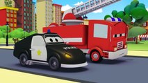 The Car Patrol: fire truck and police car  in Amber's siren is stolen in Car City  Trucks Cartoons