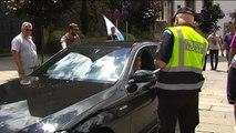 Los taxistas gallegos colapsan la Plaza del Obradoiro en Santiago