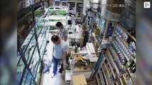 A man poisons dozens of tropical fish in a pet store