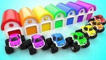Cartoon Monster Trucks Car Toys Garage Learn Colors for Children Kids Toddler Educational