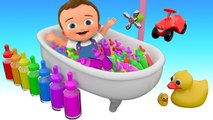 Color Feeding Bottles Baby Shower Bath - Learn Colors for Kids Children with 3D Color Water Bottles