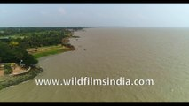 Rare Aerial view of Diamond Harbour, West Bengal, Bay of Bengal, India, 4k Aerial stock footage.