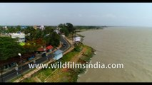 Panoram view of Diamond Harbour, West Bengal, Bay of Bengal, India, 4k Aerial stock footage