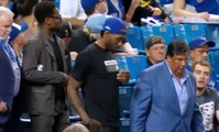 Kawhi Leonard arrives and shuts down Toronto  Blue Jays arena and records  Mike Trout with his cellphone 6-20-19