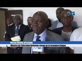 RTG/Séance de travail du Ministre de l'Education Nationale Michel MENGA M'ESSONE avec les différents fournisseurs pour le bon déroulement du Baccalauréat session 2019