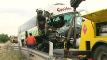 Dos heridos graves tras un accidente de autobús en Toledo