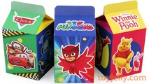 Unboxing Handmade Milk Carton Toys PJMasks Disney Cars Winnie the Pooh Kinder Surprise Eggs for kids