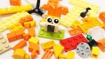 Building Blocks Toys for Children Learn Animal Vehicle Lego Orange Creative Educational Toy