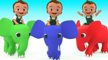Color Elephant Cartoons - Baby Elephant Ride Learn Colors for Children Kids Toddler Educational