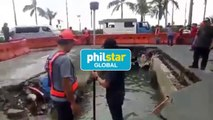Authorities survey collapsed area on Roxas Boulevard