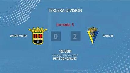 Resumen partido entre Unión Viera y Cádiz B Jornada 3 Tercera División - Play Offs Ascenso