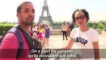 Canicule: à Paris, les touristes se protègent du soleil